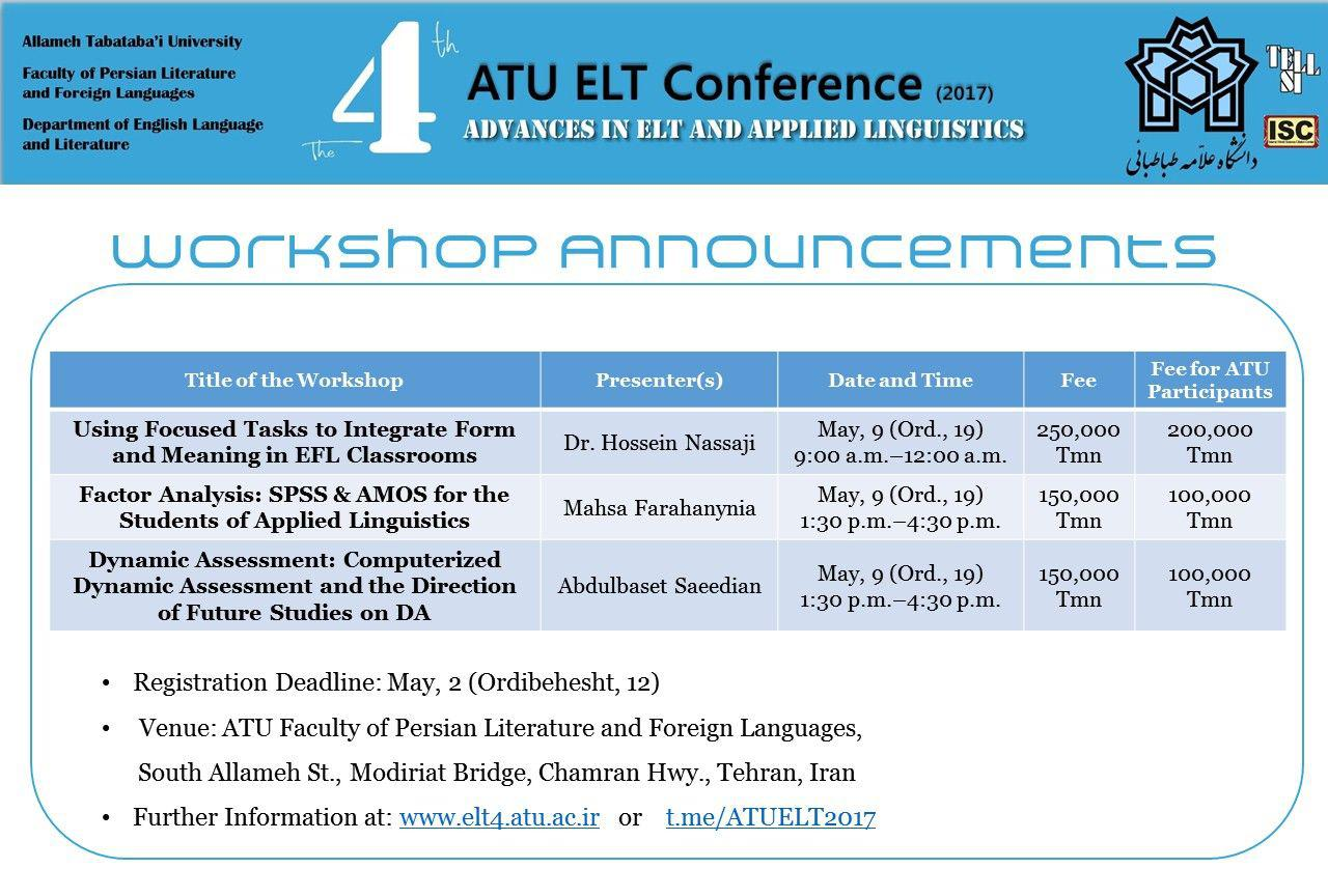 ATU ELT4 Conference Workshops